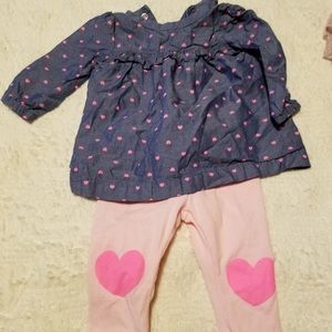 Baby girl size 3 month denim pink outfit hearts